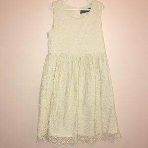 Mini Boden cream crochet dress size 9-10